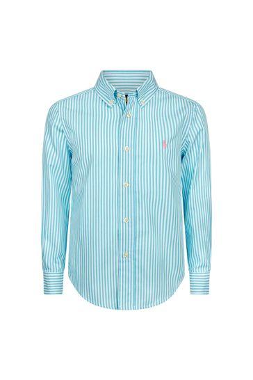 보이즈 블루 코튼 셔츠