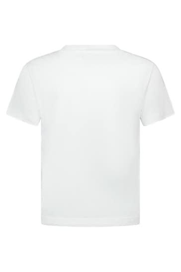 Boys White Cotton Turtle T-Shirt