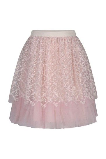 Baby Girls Pink Tulle Embroidered Skirt