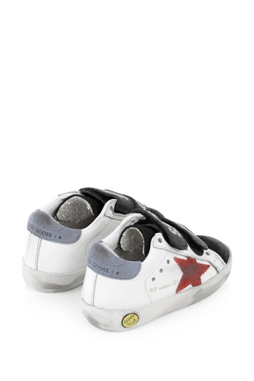 Kids White Leather \u0026 Red Suede Star Old