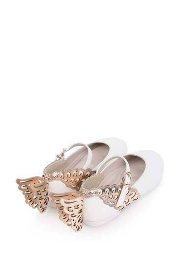 Girls White & Rose Gold Leather Evangeline Shoes