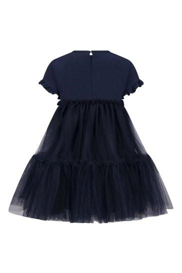 Girls Navy Tulle Rose Dress