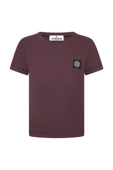 보이즈 버건디 코튼 티셔츠