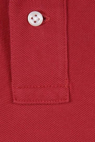 Boys Red Cotton Custom Fit Polo Top