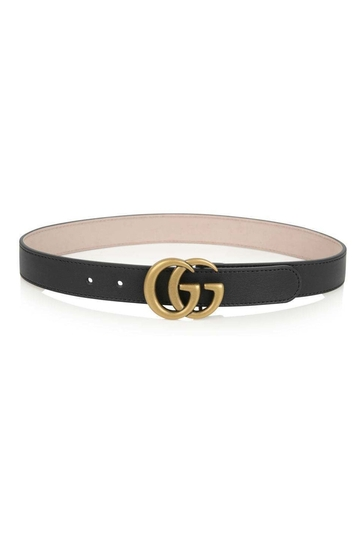 Black Leather Belt With Gold GG Buckle