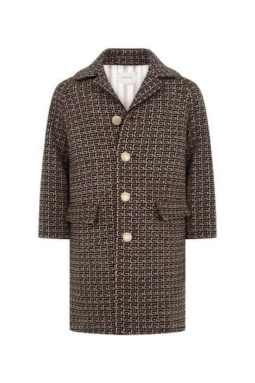 Boys Brown Wool GG Coat