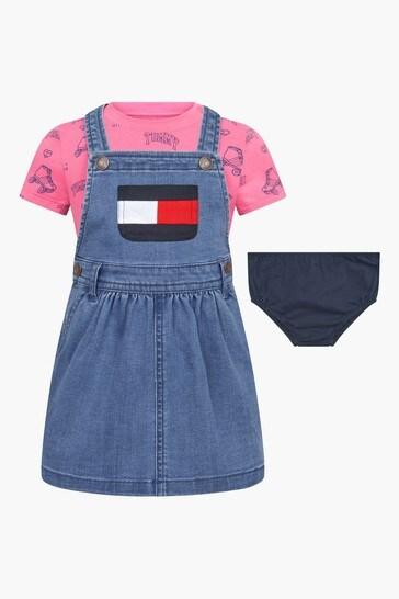 베이비 블루 코튼 티셔츠 와 드레스 세트