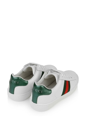 Kids White Leather Low Top Trainers