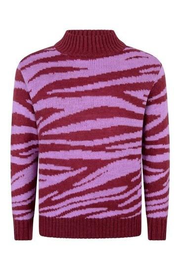 Girls Pink Zebra Wool Jumper