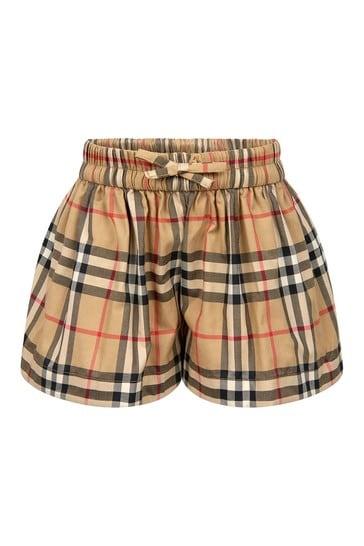 Baby Girls Beige Cotton Shorts
