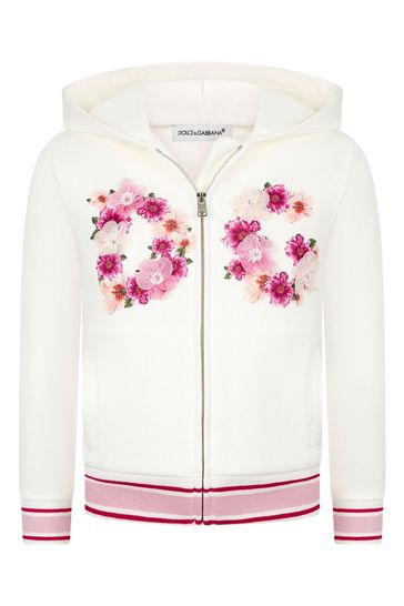 Dolce & Gabbana Girls Pink Cotton Zip Up Top