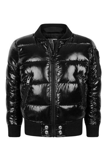 소년 블랙 로고 패딩 재킷