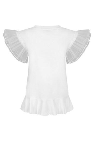 Monnalisa Girls White Cotton Dress