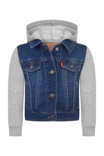 Baby Boys Blue Denim & Jersey Jacket