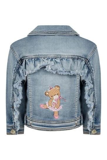 베이비 걸스 블루 데님 로즈 & 테디 재킷