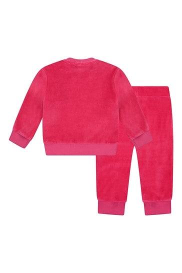 Baby Girls Fuchsia Cotton Logo Tracksuit