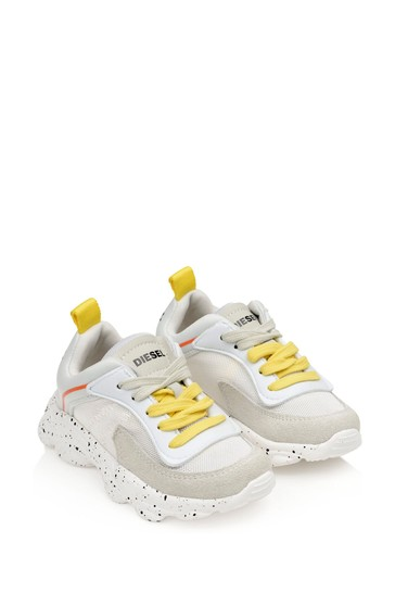 Boys White Lace-Up Trainers
