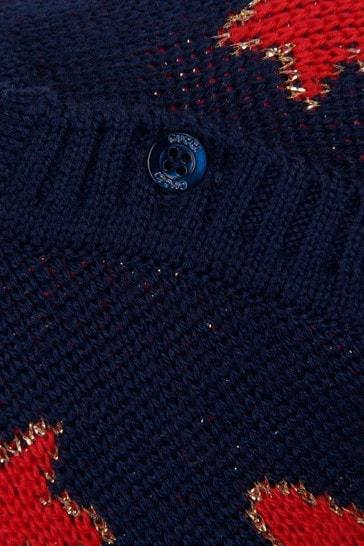 Baby Girls Navy Wool Knitted Stars Jumper