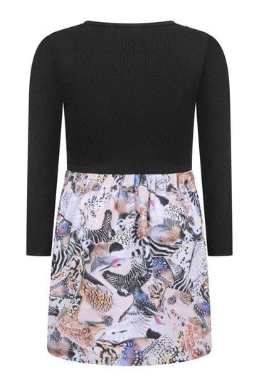 Girls Black And Pink Organic Cotton Animals Dress