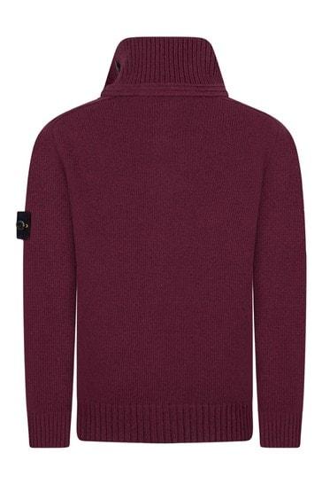 Boys Burgundy Knitted Cardigan