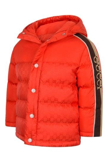 Boys Orange Padded GG Jacket