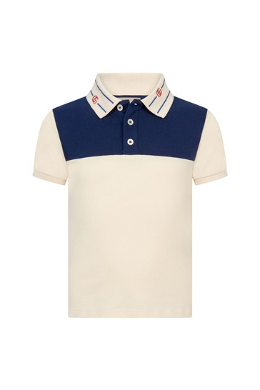 Boys Cream Cotton Polo Top