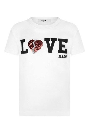 Girls White Cotton Love Logo T-Shirt