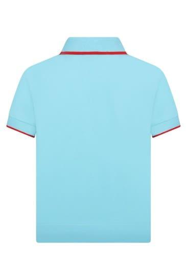 Boys Blue Cotton Polo Top