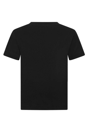 Girls Black Cotton Logo T-Shirt