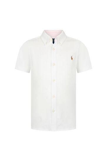 Boys White Cotton Shirt