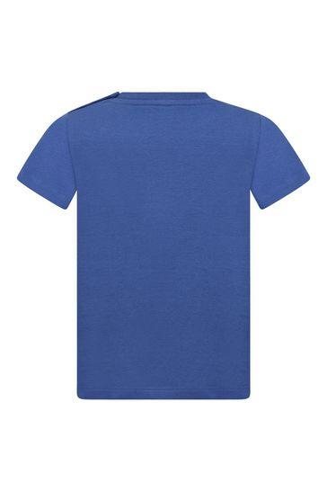 베이비 보이즈 블루 코튼 로고 티셔츠