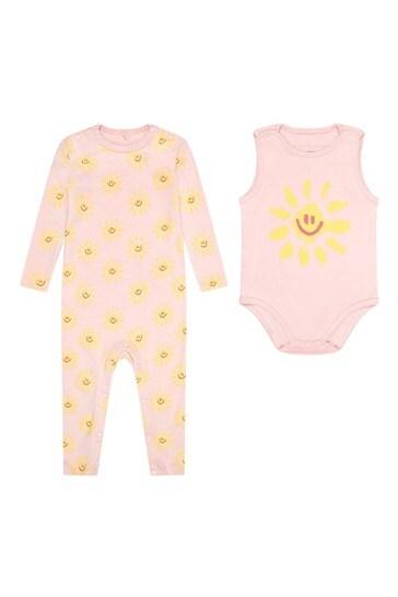Baby Girls Pink Cotton Bodysuit Set