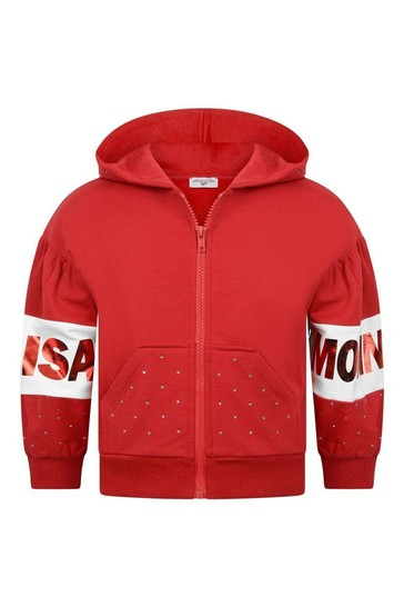 Girls Red Cotton Logo Zip Up Top