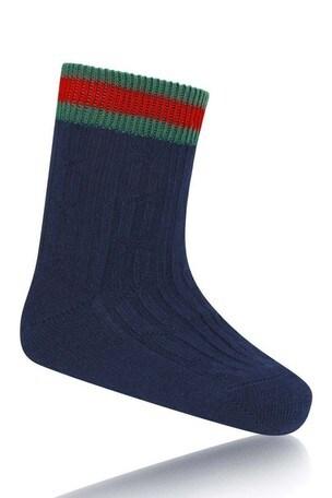 GUCCI Navy Cotton Ribbed Socks