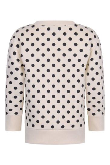 Kid White Cotton Polka Dots Vintage Logo Sweatshirt
