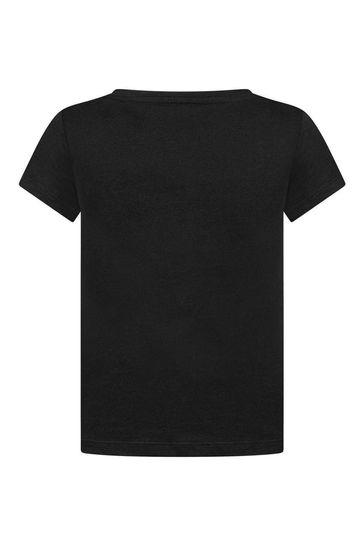 Girls Black Cotton Jersey Logo Print T-Shirt