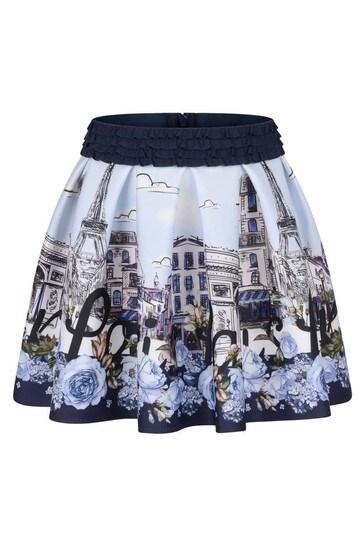 Girls Blue Neoprene Paris Skirt