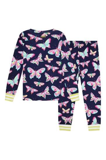 Girls Blue Delightful Butterflies Organic Cotton Pyjama Set