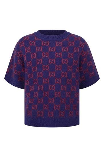 Girls Navy Knitted GG Sweater