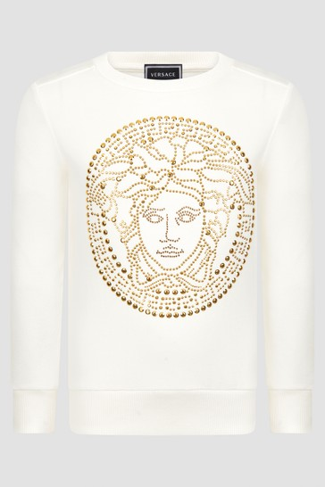 Girls Ivory And Gold Logo Cotton Sweater