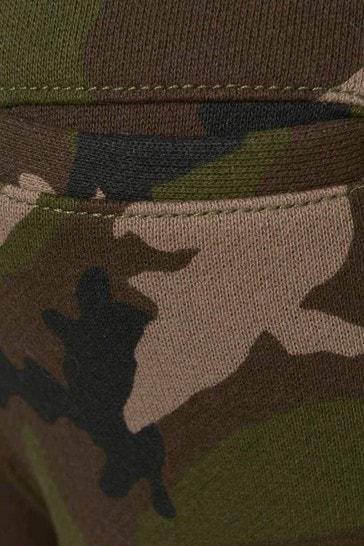 Boys Green Camouflage Cotton Logo Joggers