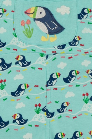 Buy Frugi Organic Puffin Print Soft Kneepatch Dungarees from