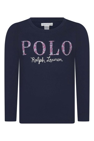 Girls Navy Cotton Long Sleeve Polo T-Shirt