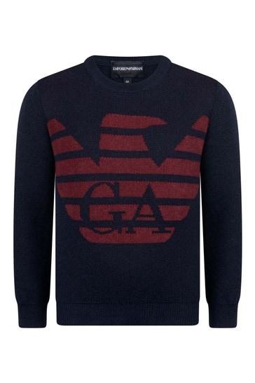 Boys Navy & Red Wool Logo Jumper