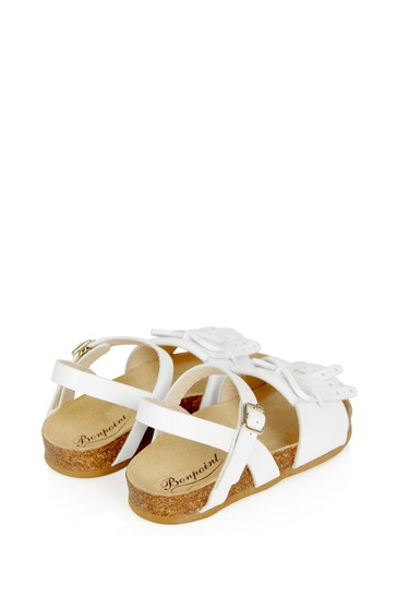 Girls White Leather Sandals
