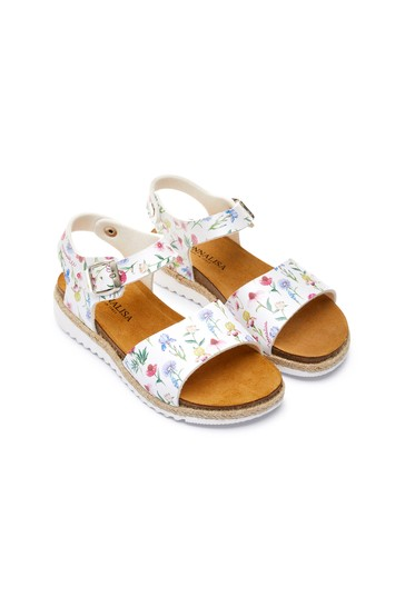Girls White Floral Sandals
