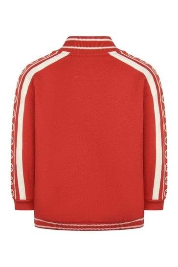 Boys Red Cotton Logo Zip Up Top