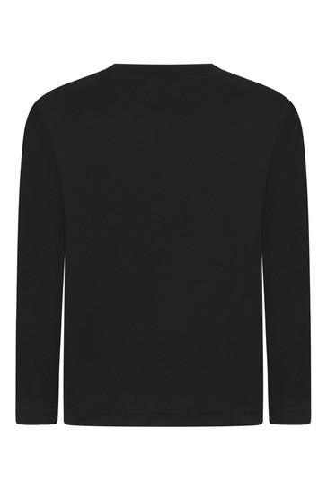 Boys Black Cotton Logo Long Sleeves T-Shirt