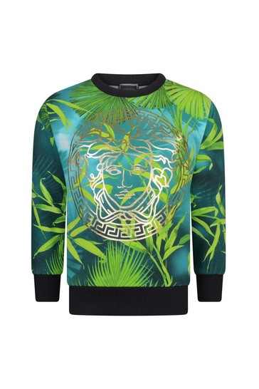 Boys Green Cotton Jungle Print Sweater