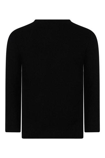 Girls Black Cotton Long Sleeve Bow T-Shirt